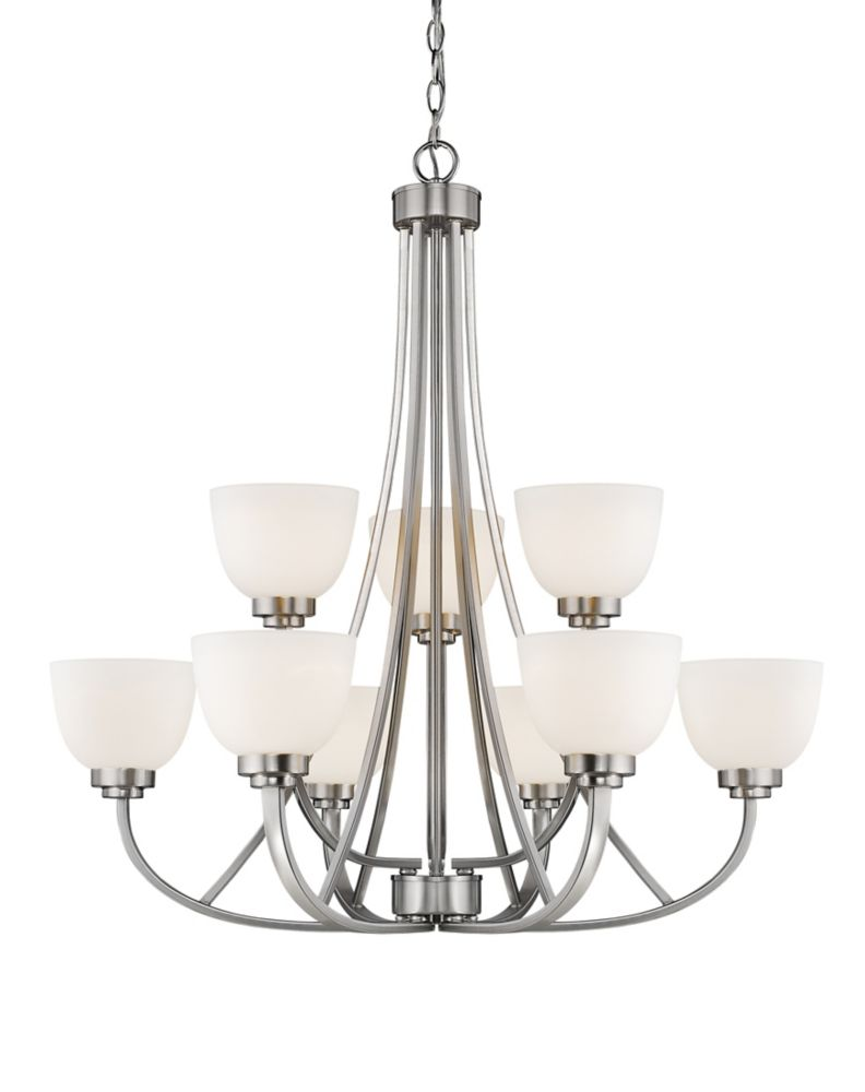 9-Light Brushed Nickel Chandelier with Matte Opal Glass - 31 inch