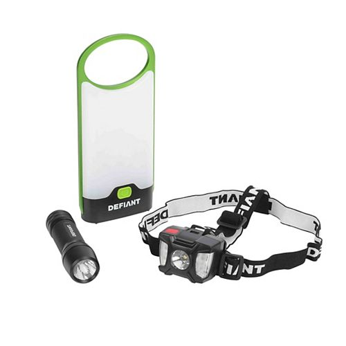 Defiant 3-Pack Led Lantern, Flashlight And Headlight Combo