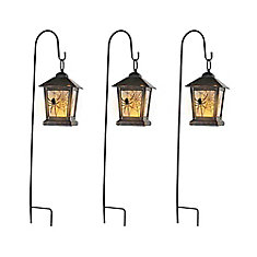 3 Pack LED Lantern Pathway Markers with Timer