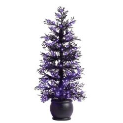 Home Accents Halloween 4 ft. Pre-Lit Black Flocked Halloween Potted Tree, 150 Purple Microdot Led Lights