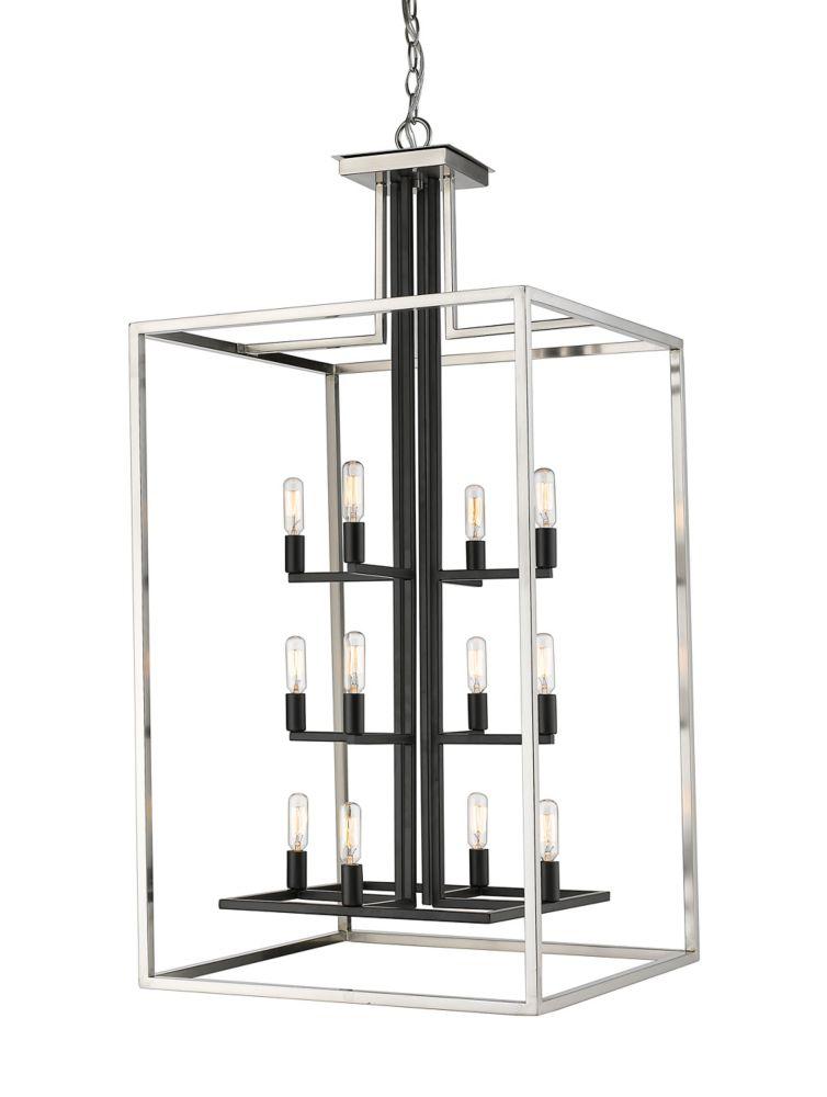 Filament Design 12-Light Brushed Nickel and Black Chandelier - 20 inch
