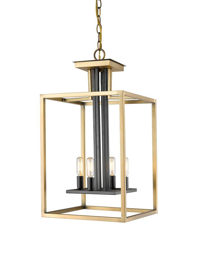 Filament Design 4-Light Olde Brass and Bronze Chandelier - 13 inch