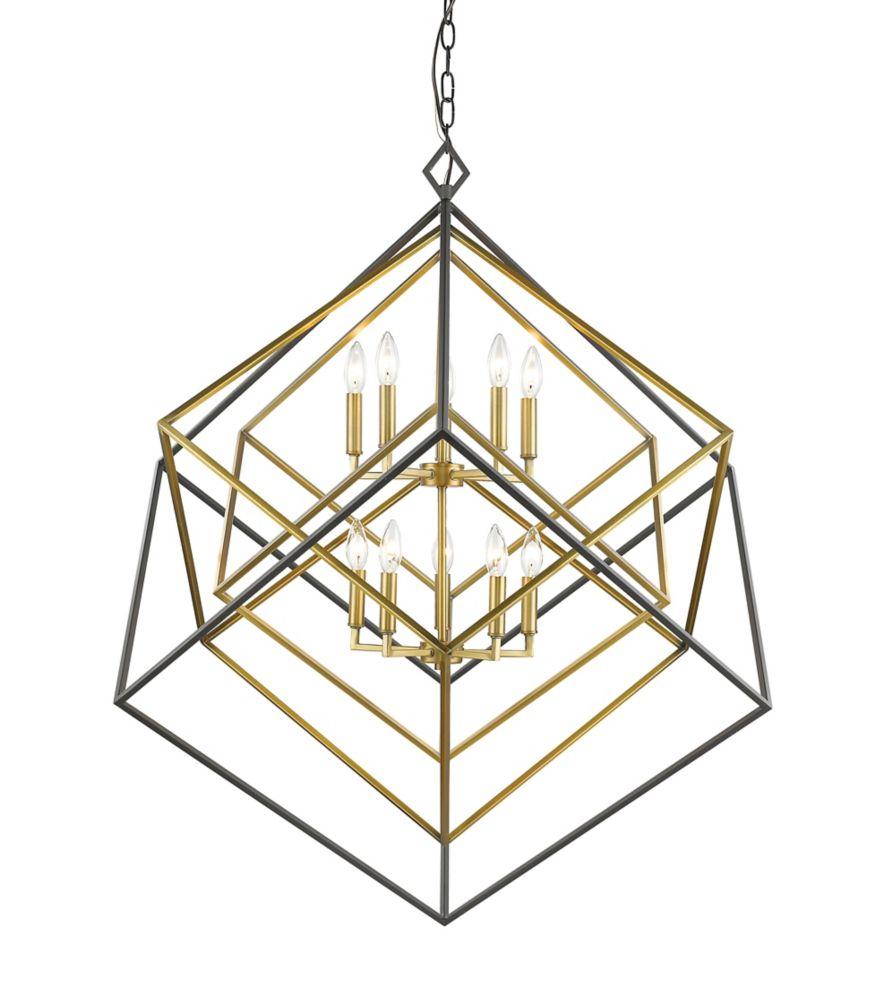 Filament Design 10-Light Olde Brass and Bronze Chandelier - 41.5 inch