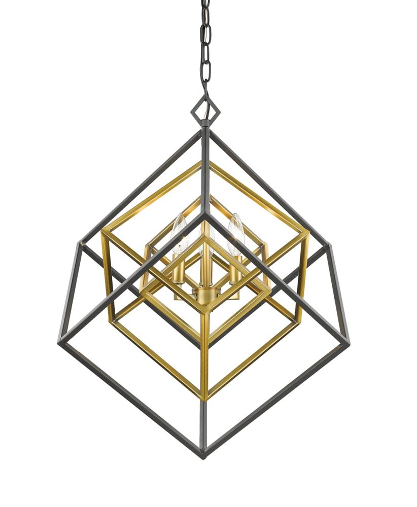 3-Light Olde Brass and Bronze Chandelier - 23 inch