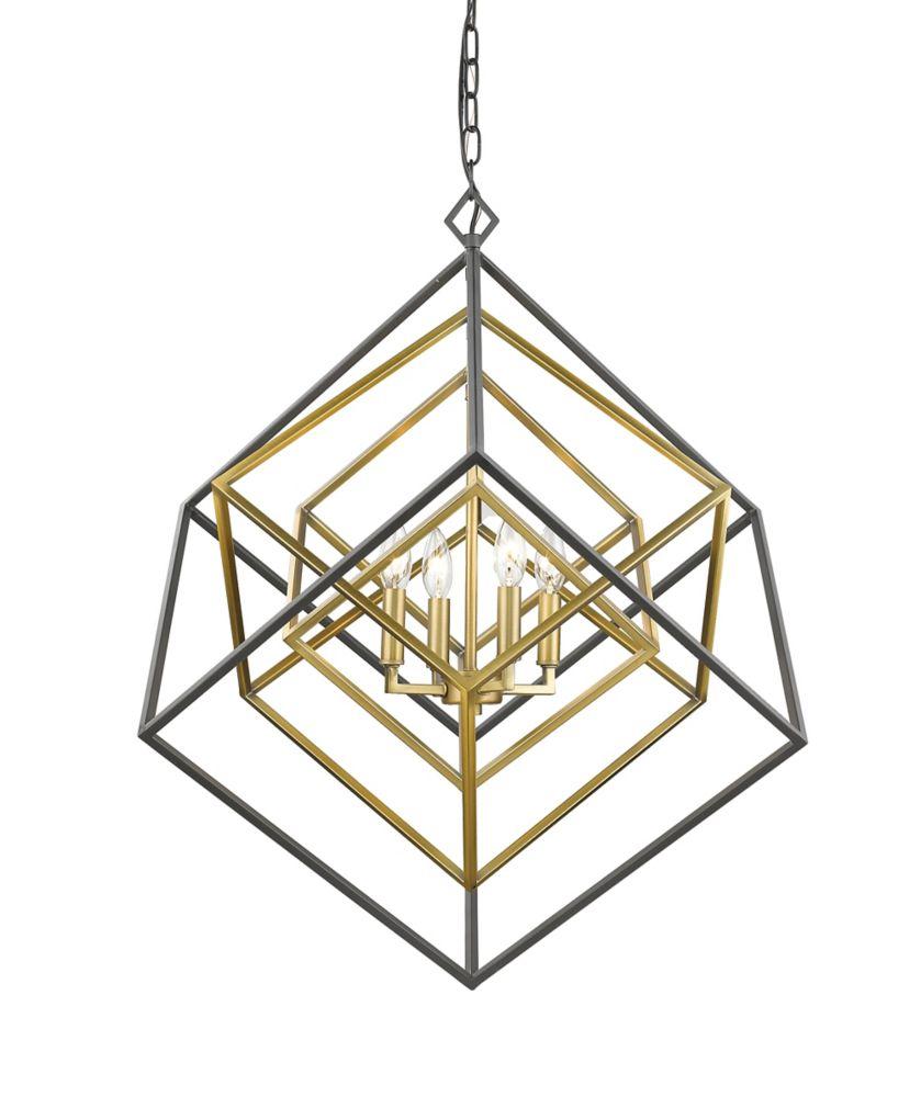 Filament Design 4-Light Olde Brass and Bronze Chandelier - 29.5 inch