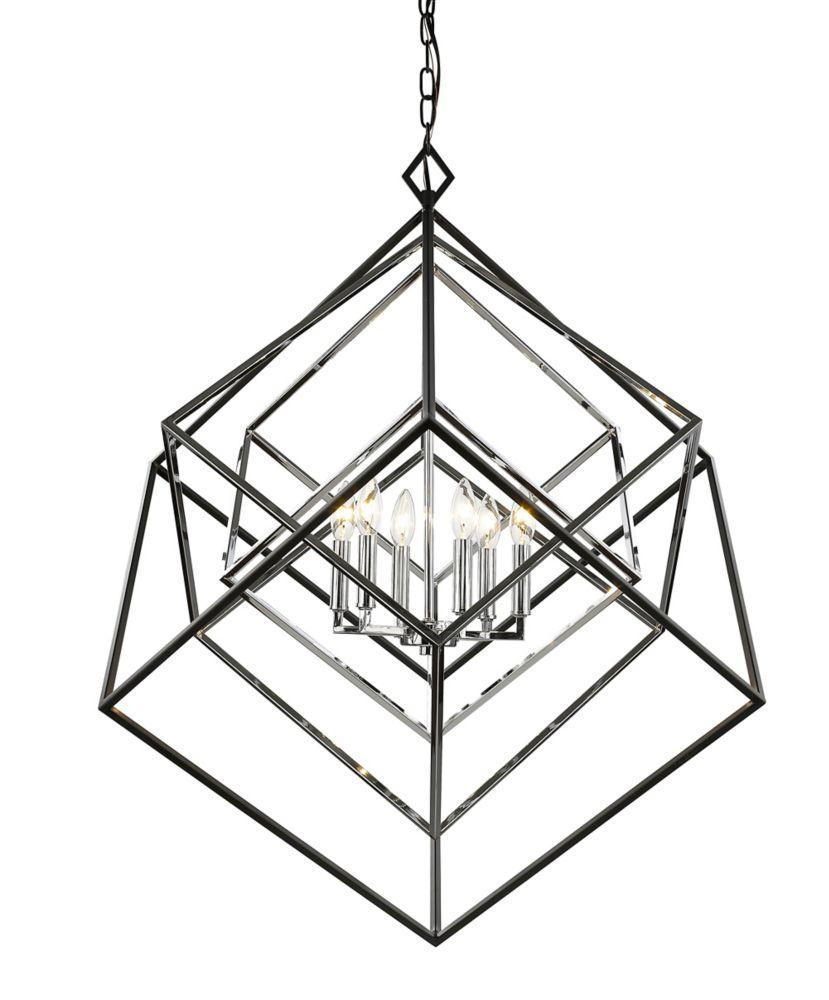 Filament Design 6-Light Chrome and Matte Black Chandelier - 35.5 inch
