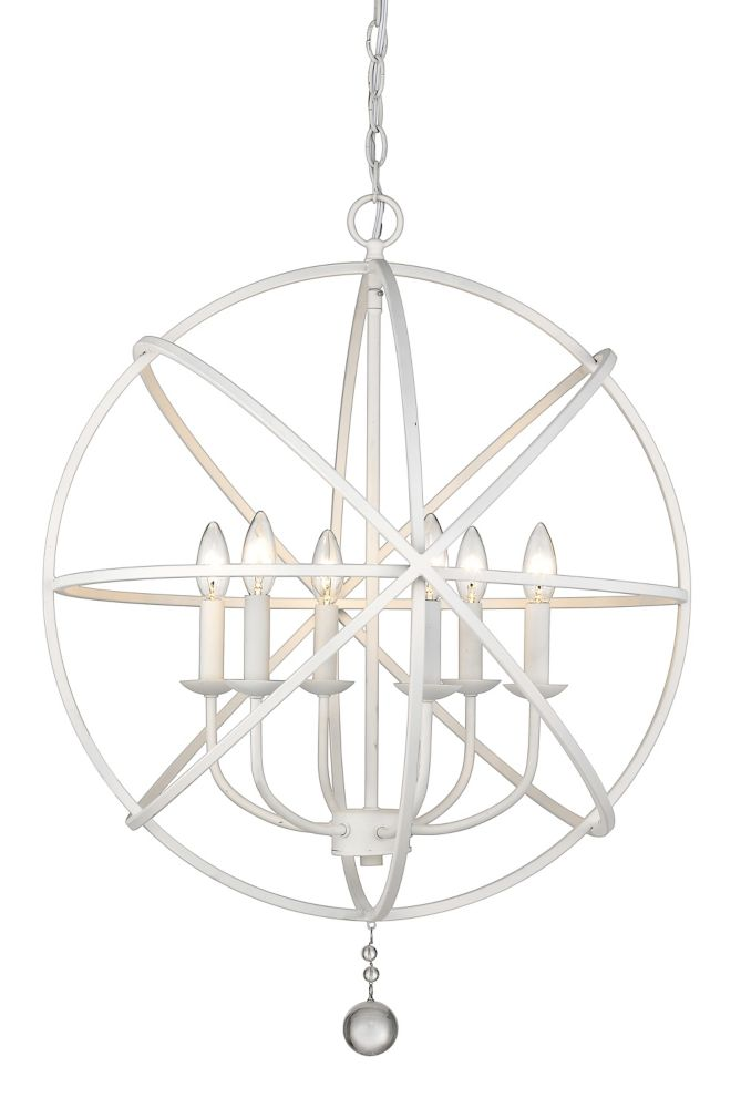 6-Light Matte White Chandelier - 24 inch