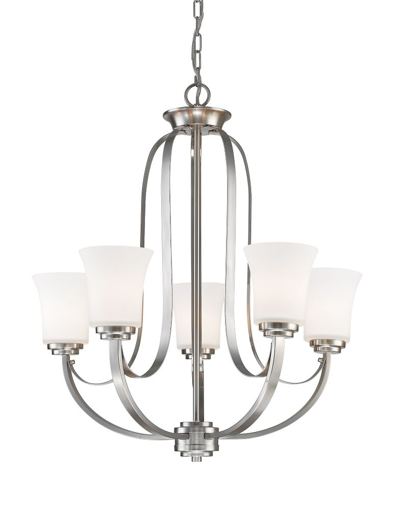 5-Light Brushed Nickel Chandelier with Matte Opal Glass Shade(s) - 25 inch