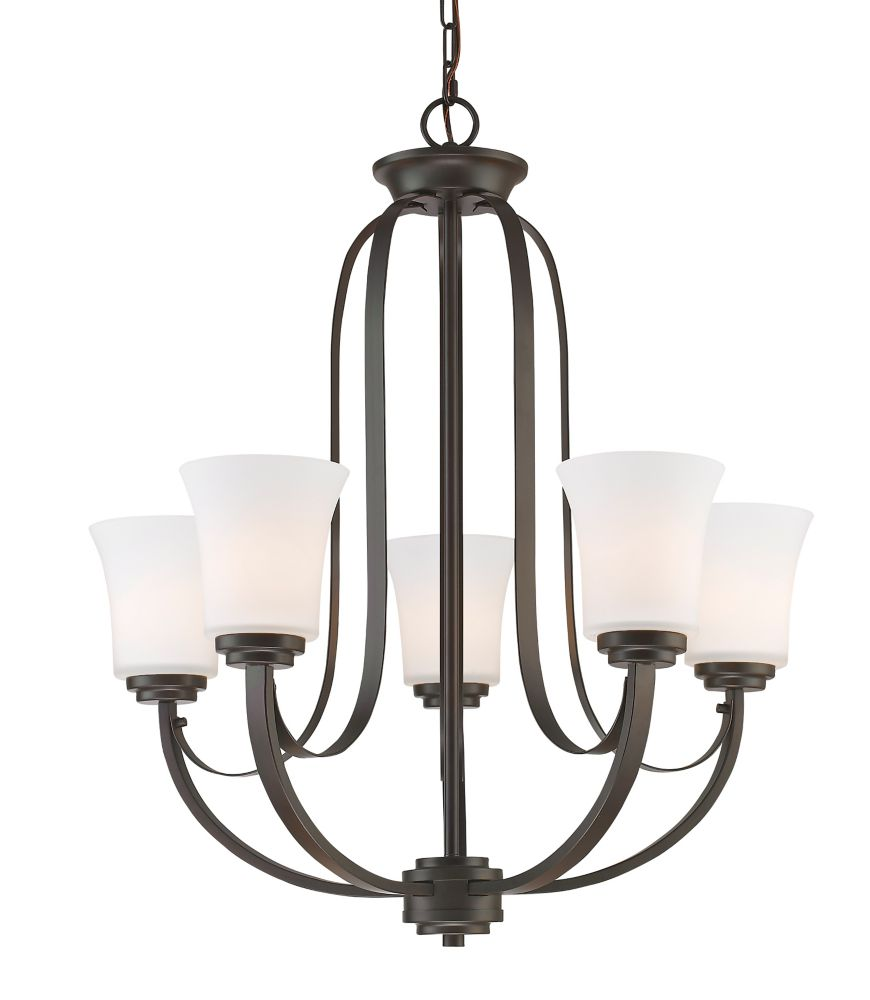 Filament Design 5-Light Bronze Chandelier with Matte Opal Glass Shade(s) - 25 inch