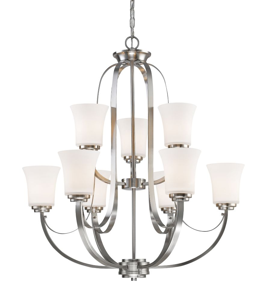 9-Light Brushed Nickel Chandelier with Matte Opal Glass - 29 inch