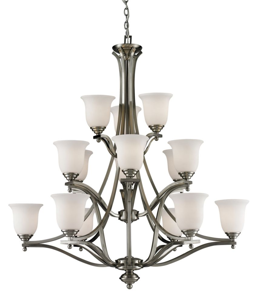 15-Light Brushed Nickel Chandelier with Matte Opal Glass - 42 inch