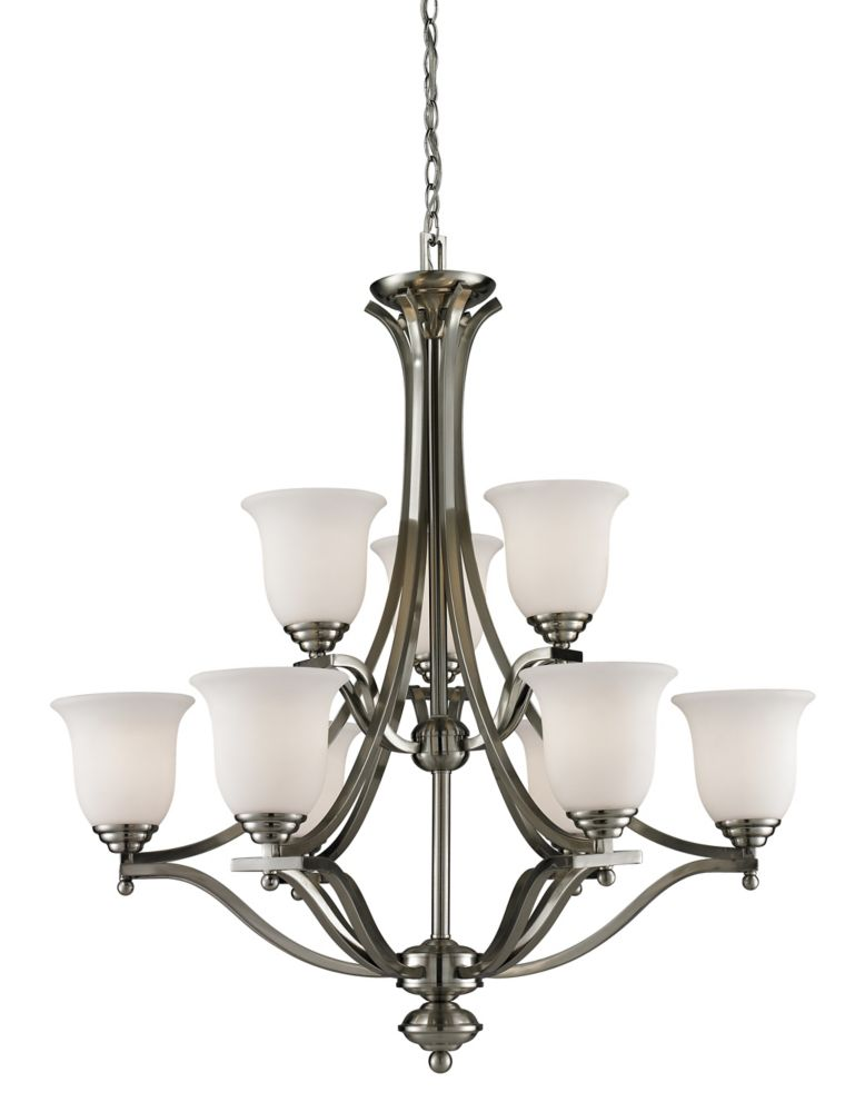 9-Light Brushed Nickel Chandelier with Matte Opal Glass - 31.75 inch