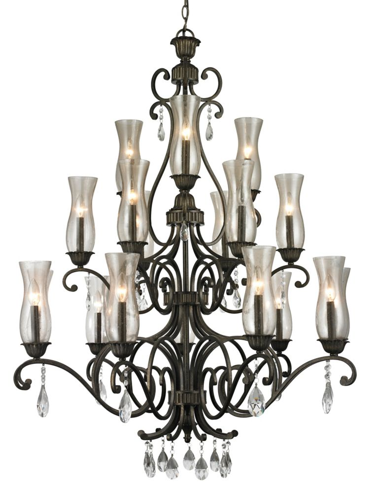 Filament Design 18-Light Golden Bronze Chandelier with Cognac Seedy Glass - 41 inch
