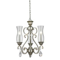 Filament Design 3-Light Antique Silver Chandelier with Clear Seedy Glass - 17 inch