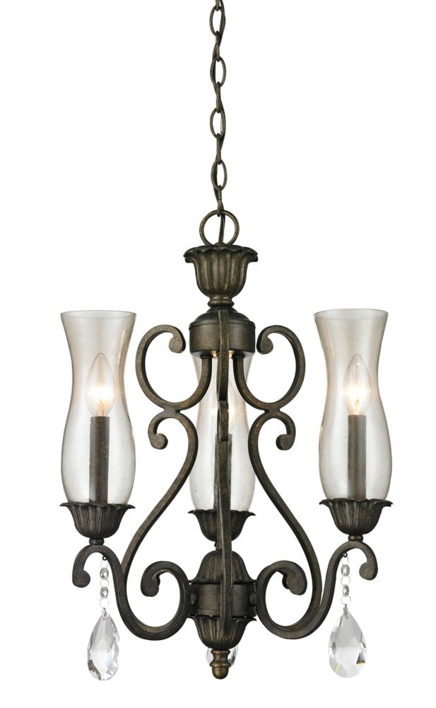Filament Design 3-Light Golden Bronze Chandelier with Cognac Seedy Glass - 17 inch