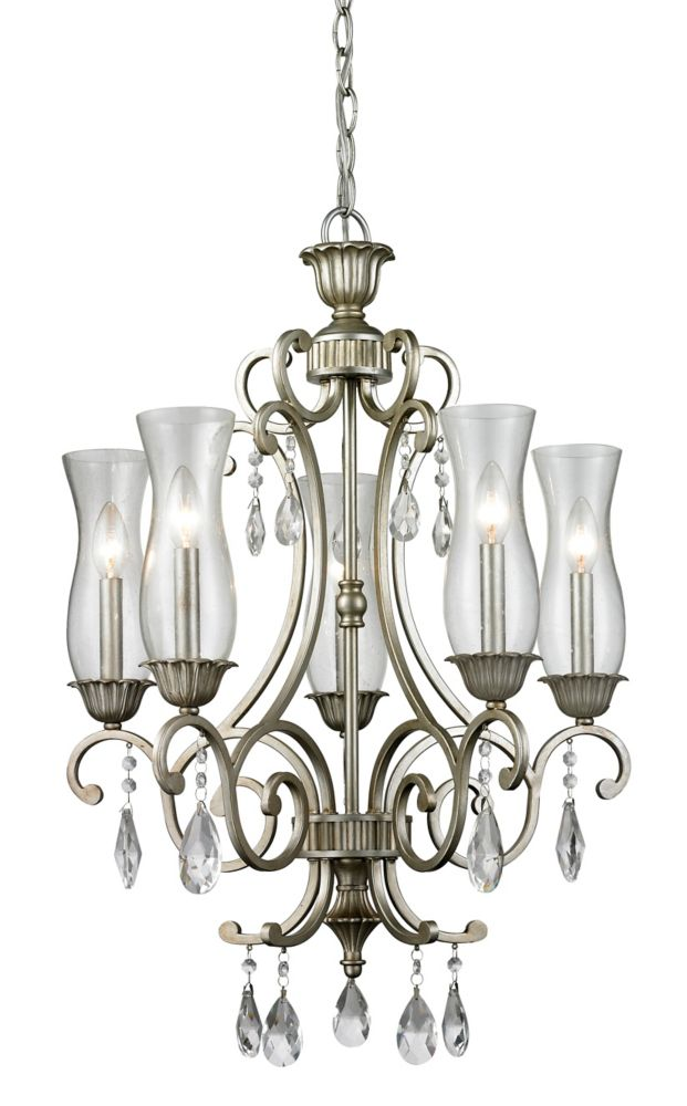 Filament Design 5-Light Antique Silver Chandelier with Clear Seedy Glass - 22.4 inch