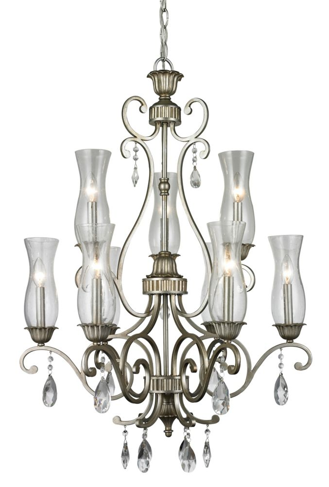 9-Light Antique Silver Chandelier with Clear Seedy Glass - 28.6 inch