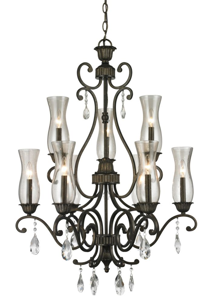 9-Light Golden Bronze Chandelier with Cognac Seedy Glass - 28.6 inch