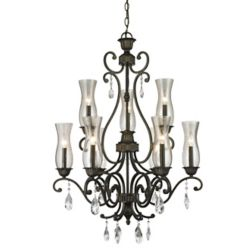 Filament Design 9-Light Golden Bronze Chandelier with Cognac Seedy Glass - 28.6 inch
