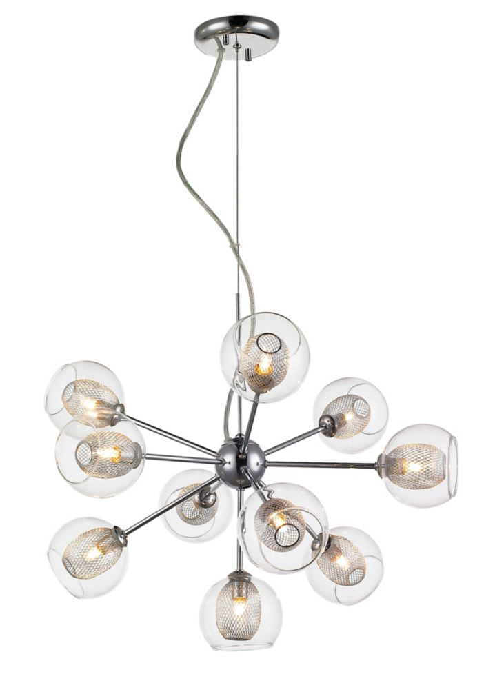 Filament Design 10-Light Chrome Chandelier with Clear and Mesh Glass and Steel Shade - 22.5 inch