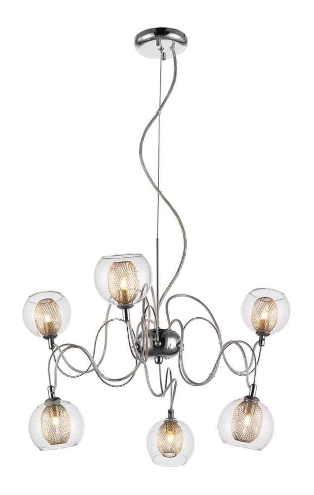 6-Light Chrome Chandelier with Clear and Mesh Glass and Steel Shade - 24 inch