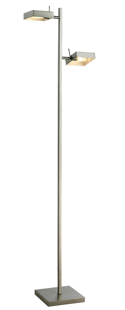 2-Light Brushed Nickel Floor Lamp with Brushed Nickel Steel Shade - 13.5 inch
