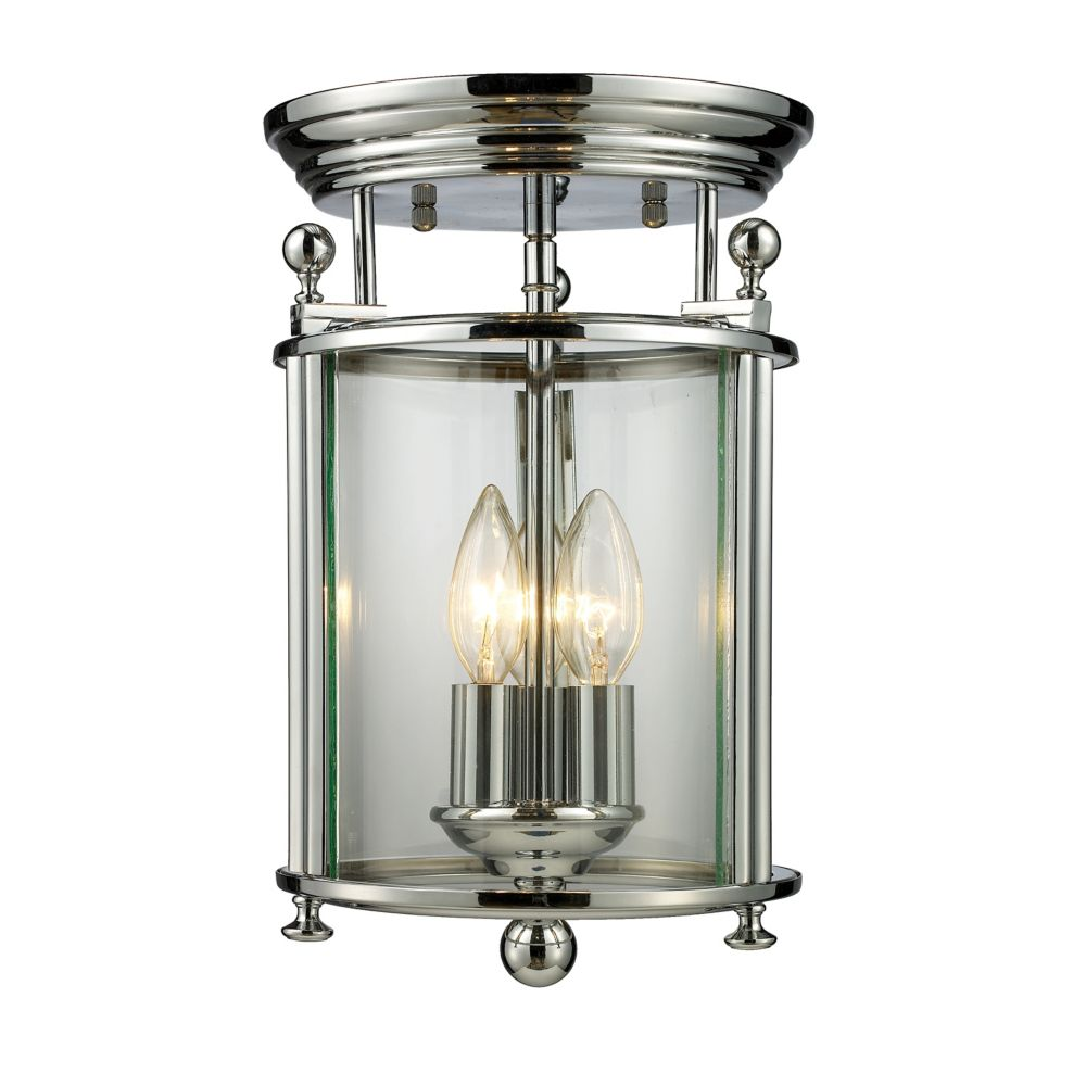 3-Light Chrome Flush Mount with Clear Glass Shades