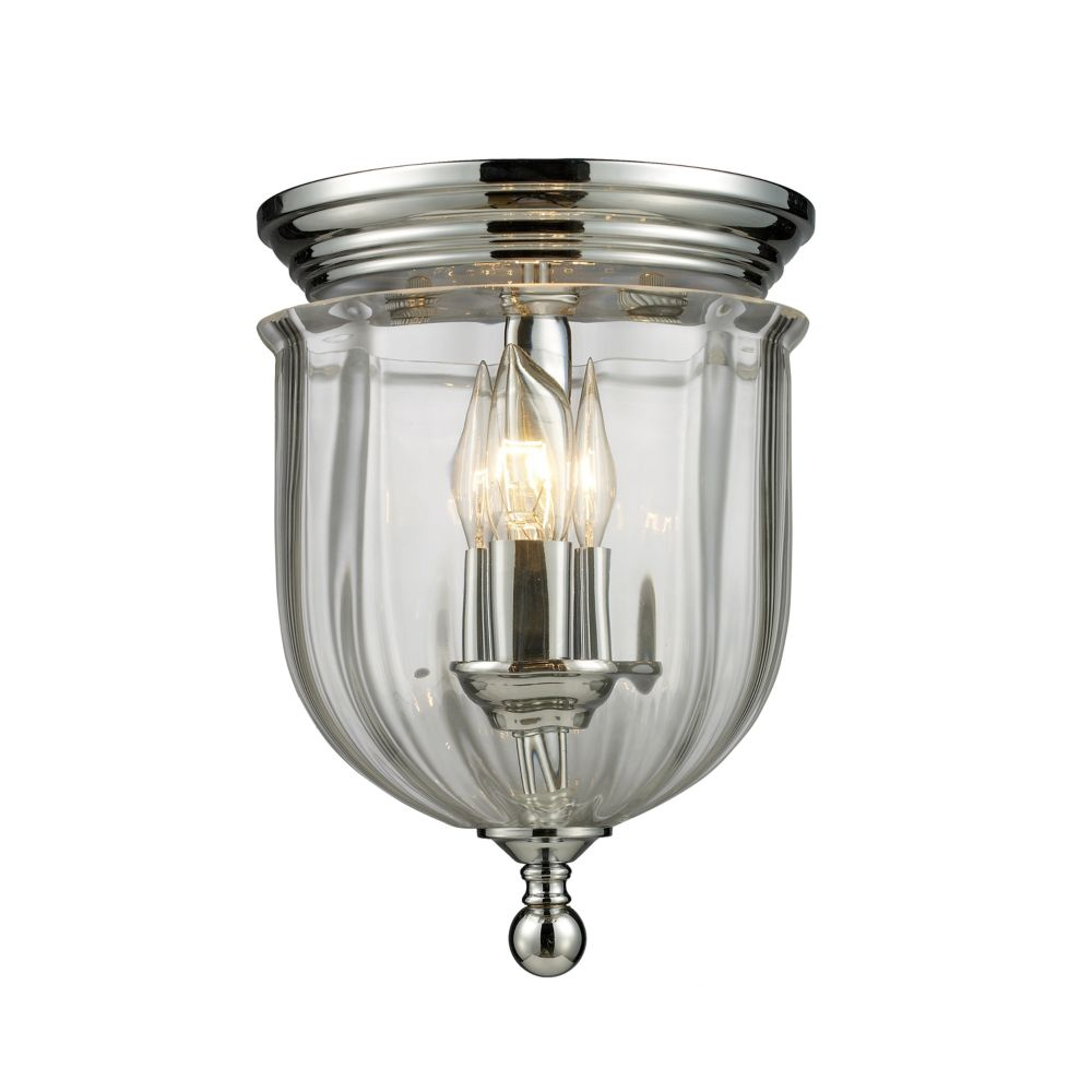 3-Light Chrome Flush Mount with Clear Glass Shade(s) - 8.5 inch