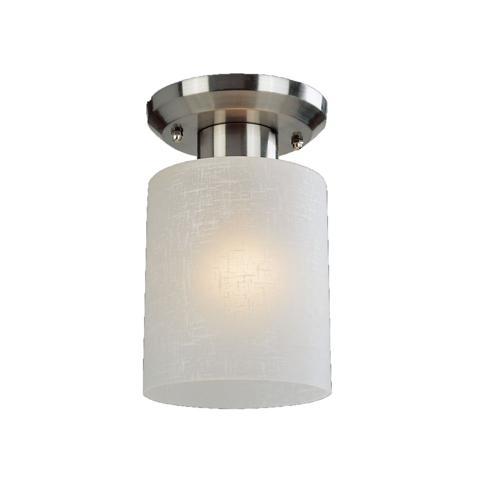 1-Light Brushed Nickel Flush Mount with White Linen Glass - 5 inch