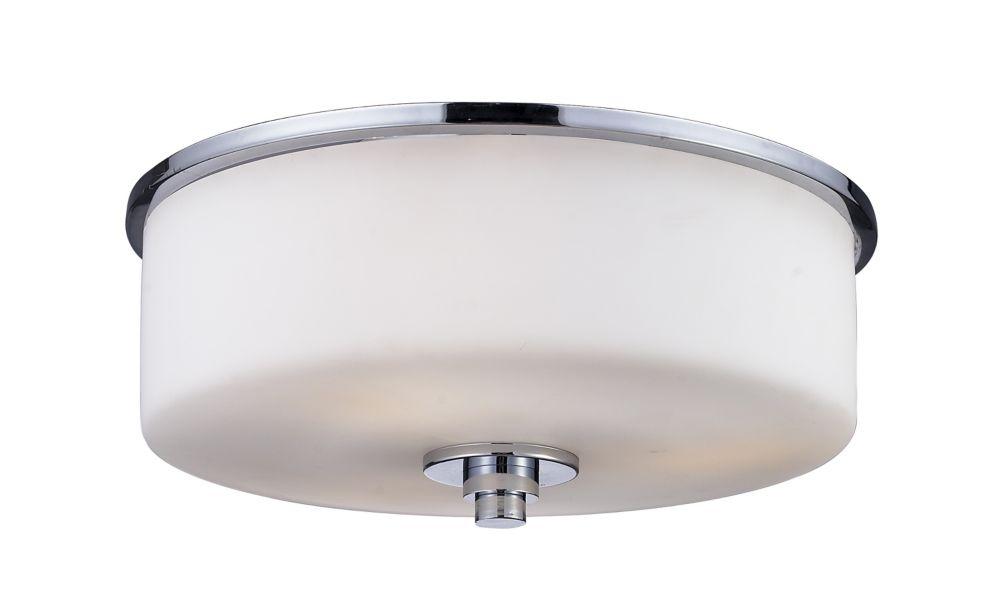 2-Light Chrome Flush Mount with Matte Opal Glass - 11 inch