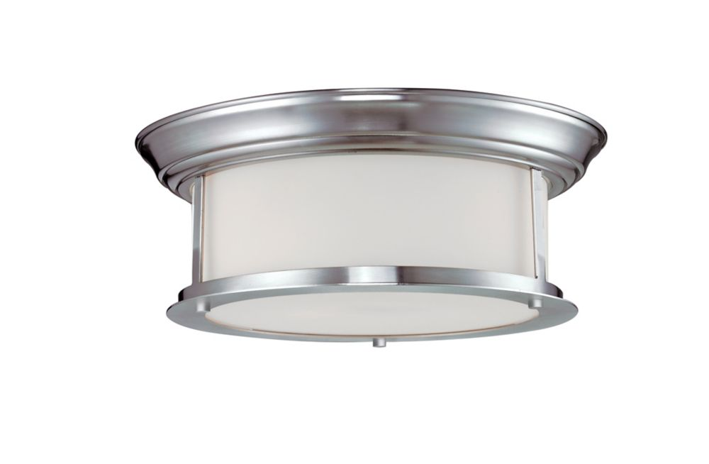2-Light Brushed Nickel Flush Mount with Matte Opal Glass - 13.25 inch