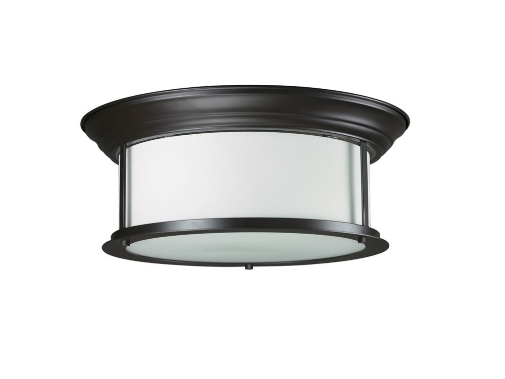 3-Light Bronze Flush Mount with Matte Opal Glass - 15.5 inch