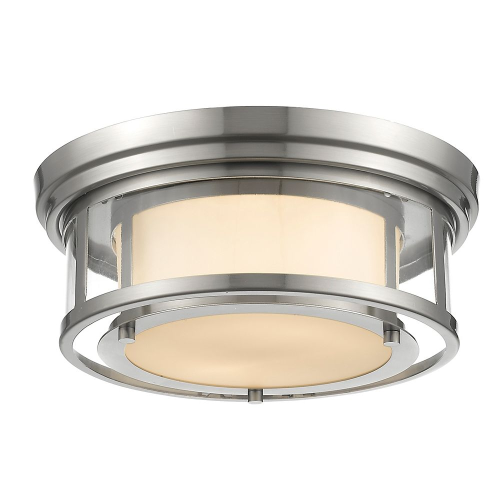 Filament Design 2-Light Brushed Nickel Flush Mount with Matte Opal Glass Shade(s) - 13 inch