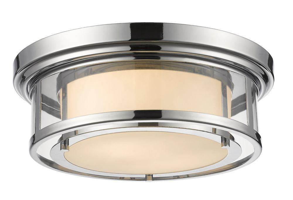 Filament Design 2-Light Chrome Flush Mount with Matte Opal Glass - 15.5 inch