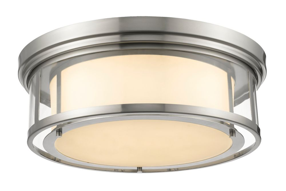 4-Light Brushed Nickel Flush Mount with Matte Opal Glass - 21.25 inch