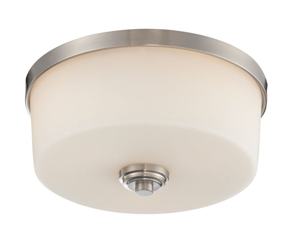 3-Light Brushed Nickel Flush Mount with Matte Opal Glass - 13.875 inch