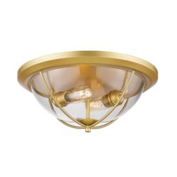 Filament Design 2-Light Satin Gold Flush Mount with Clear Glass - 15 inch