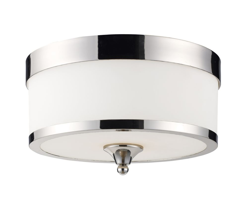 3-Light Chrome Flush Mount with Matte Opal Glass - 13 inch