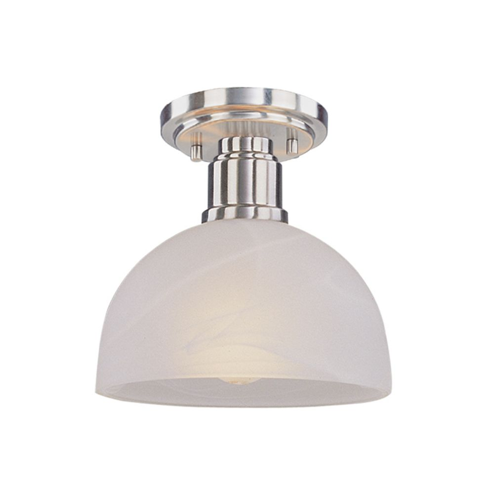 1-Light Brushed Nickel Flush Mount with White Swirl Glass - 8 inch