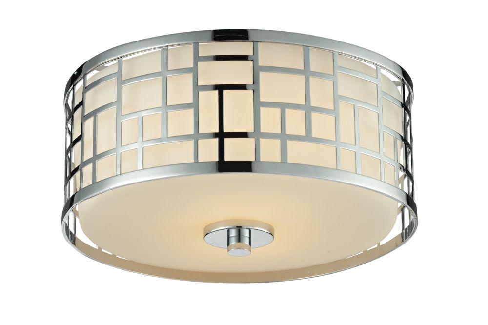 2-Light Chrome Flush Mount with Matte Opal Glass - 11.75 inch