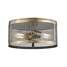 2-Light Natural Brass Flush Mount with Natural Brass Steel Shade - 12.125 inch
