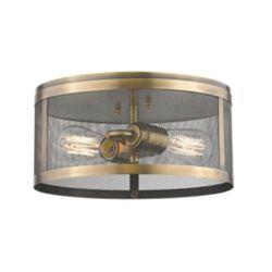 Filament Design 2-Light Natural Brass Flush Mount with Natural Brass Steel Shade - 12.125 inch