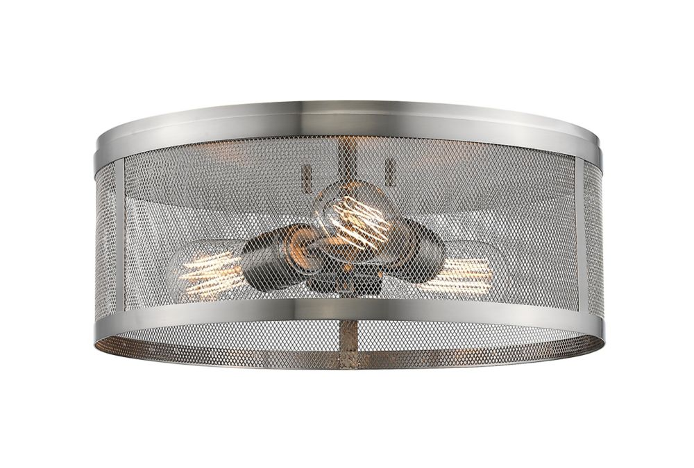 3-Light Brushed Nickel Flush Mount with Brushed Nickel Steel Shade - 14.875 inch