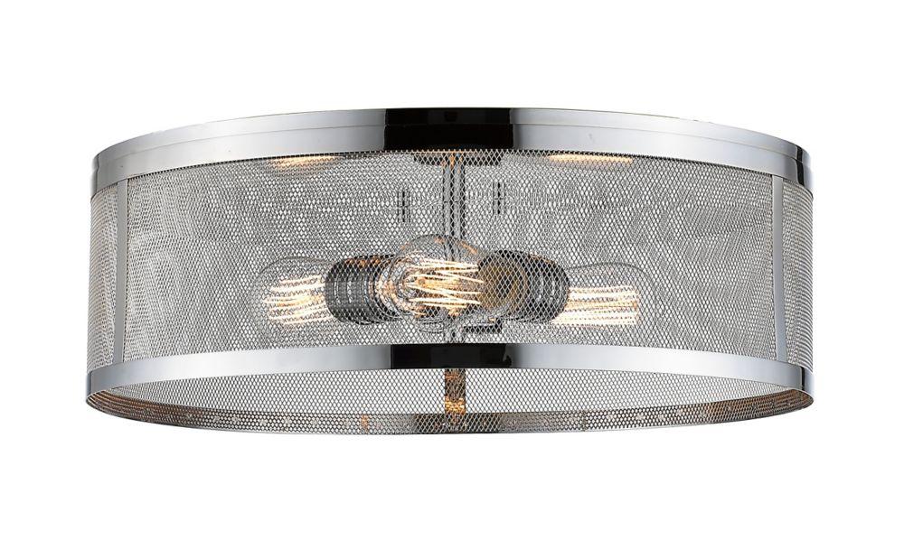 3-Light Chrome Flush Mount with Chrome Steel Shade - 18 inch