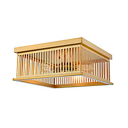 Filament Design 3-Light Brass Flush Mount with Brass Steel Shade - 15 inch