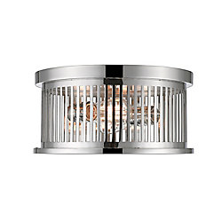 Filament Design 2-Light Polished Nickel Flush Mount with Polished Nickel Steel Shade - 13.125 inch