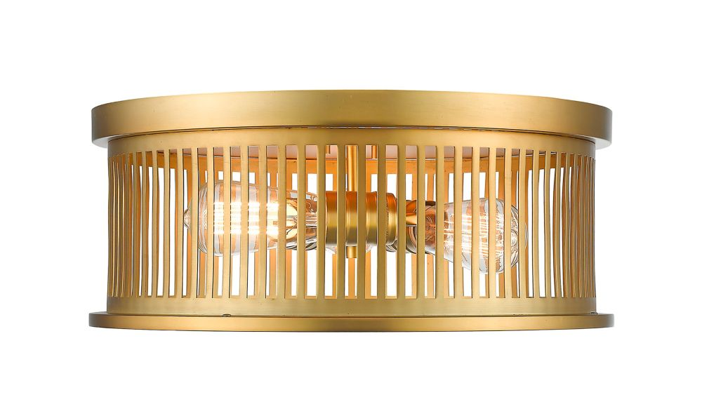 3-Light Brass Flush Mount with Brass Steel Shade - 16 inch