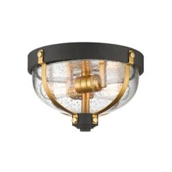 Filament Design 2-Light Bronze and Brass Flush Mount with Clear Seedy Glass - 11.625 inch