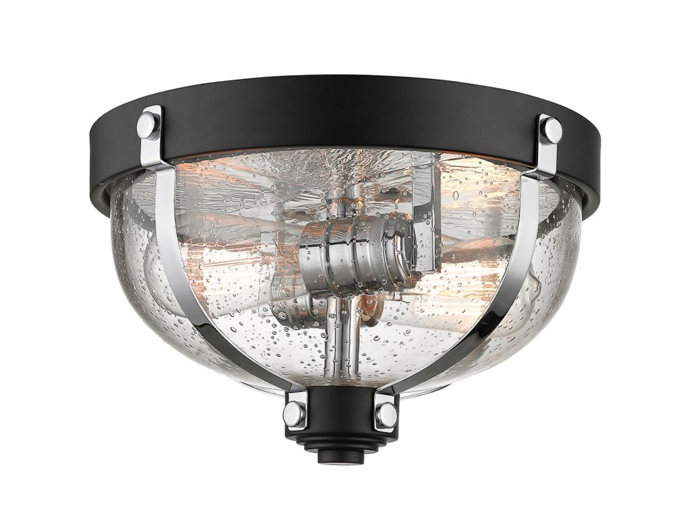 Filament Design 2-Light Matte Black and Chrome Flush Mount with Clear Seedy Glass - 11.625 inch