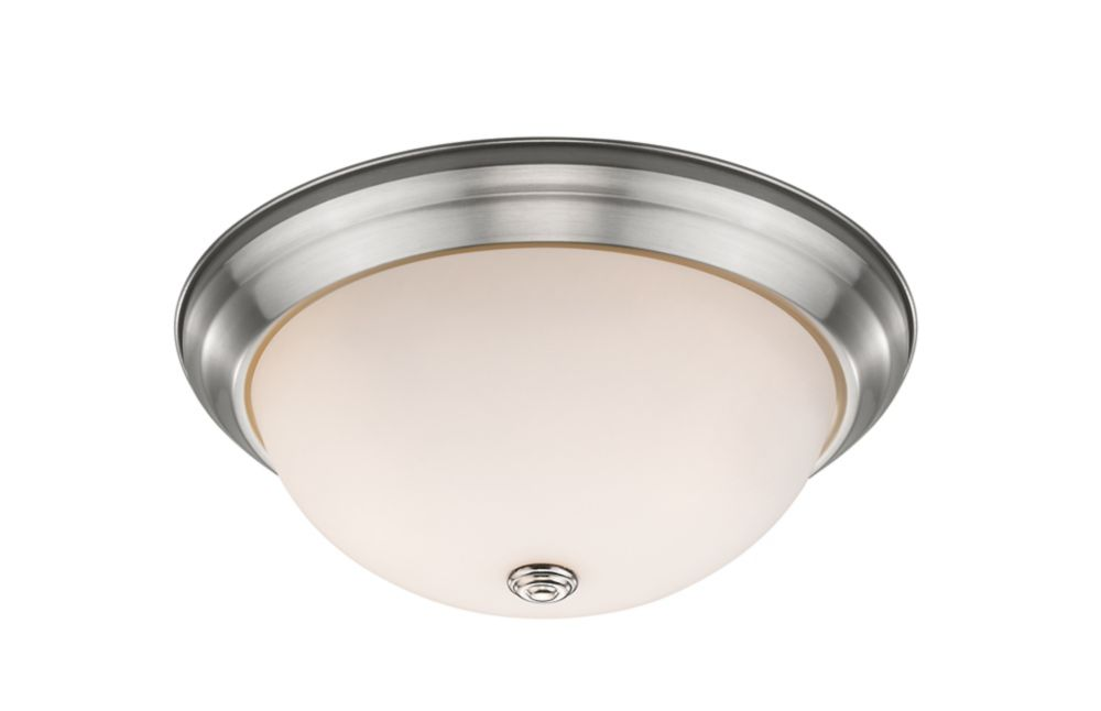 2-Light Brushed Nickel Flush Mount with Matte Opal Glass - 13 inch